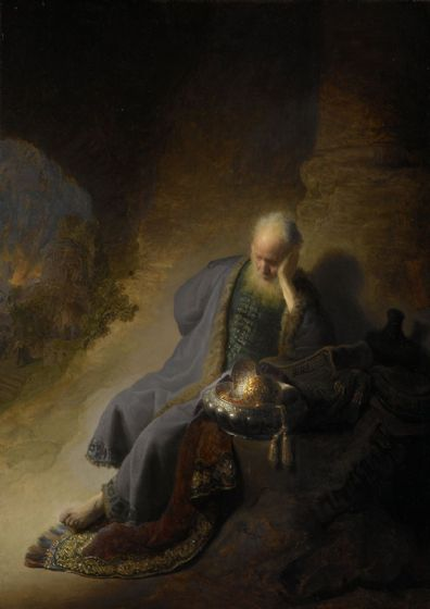 Rembrandt: Jeremiah Lamenting the Destruction of Jerusalem. Fine Art Print/Poster. Sizes: A4/A3/A2/A1 (004034)
